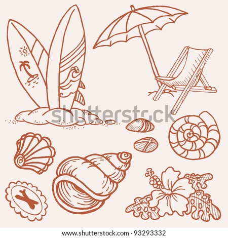 Summer seaside doodles - Hand drawn collection in vector - stock vector