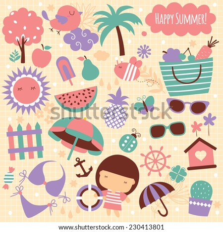 summer season clip art elements - stock vector