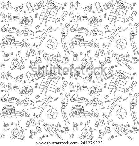 Summer season people doodles seamless pattern Black and white vector illustration. - stock vector