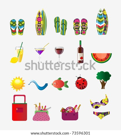 Summer set - stock vector