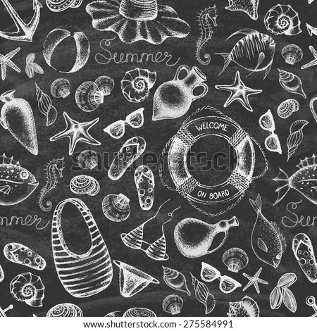 Summer set on the blackboard. Hand drawn retro icons summer beach set on a grunge paper background. Vintage style. Seamless pattern. Vector illustration. - stock vector