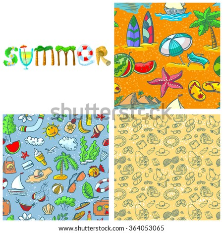 Summer set. Summer lettering composition and seamless pattern - stock vector