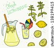 Summer set with lemonade and it's ingredients. Lemon, mint, jug, ice and glass. Hand drawn vector illustration. - stock vector