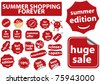 summer shopping forever stickers, vector - stock vector