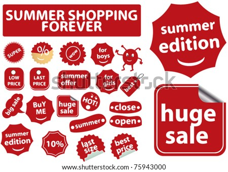 summer shopping forever stickers, vector - stock vector
