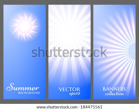 Summer sky banners collection. Vector eps10. Sun burst background. - stock vector