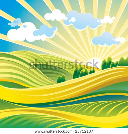 Summer solar landscape with hills and clouds - stock vector