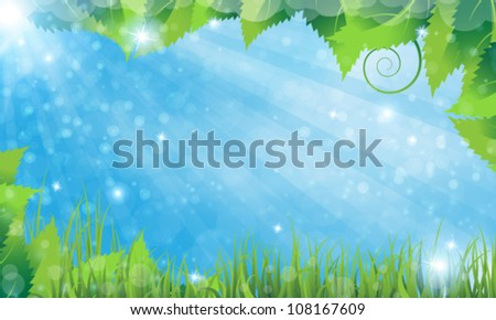 Summer solar rural landscape with a grass and lush foliage - stock vector