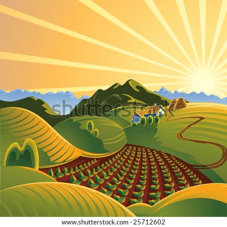 Summer solar rural landscape with a sunset and mountains - stock vector