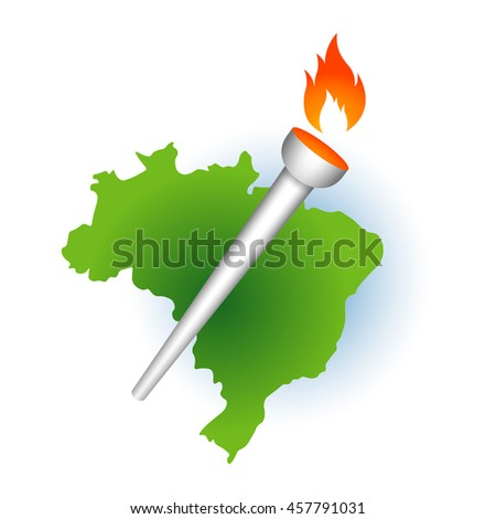 Summer sport games torch with Brazil map flame. Green laurel leaves around blue year number. Original abstract colorful athlete vector badge concept.
