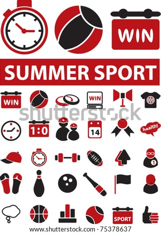 summer sport icons, signs, vector