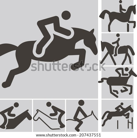Summer sports icon - equestrian icons - stock vector