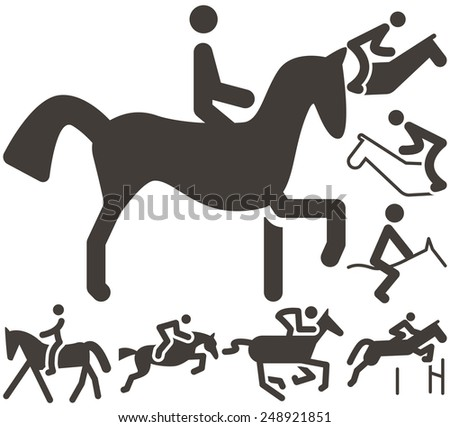 Summer sports icon set - equestrian icons - stock vector