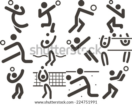 Summer sports icon - volleyball icons - stock vector