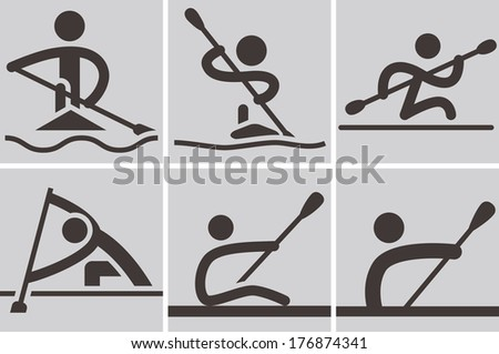 Summer sports icons - Rowing and Canoeing icons