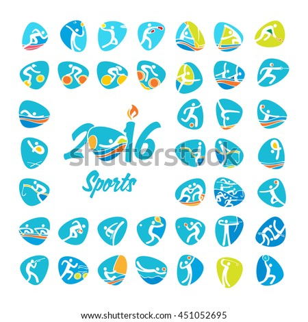 Summer 2016 sports icons set, vector pictograms for web, print and other projects. All 41 of olympic species of events. Rio 2016 Olympic games in Brazil. Rio summer Olympic games vector illustration.