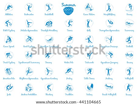 Summer sports icons set, vector pictograms for web, print and other projects. All 41 of olympic species of events - stock vector