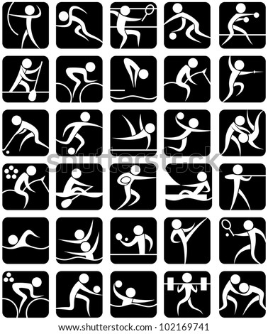 Summer Sports Symbols: Set of 30 summer sports pictograms. No transparency and gradients used.