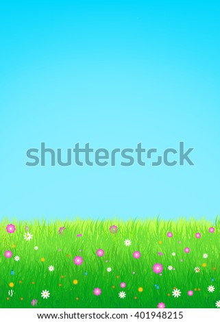 Summer, spring vector illustration featuring lush meadow with colorful flowers and clear blue sky. Great for greeting cards, web banners, summer sale advertising backgrounds and promotional leaflets - stock vector