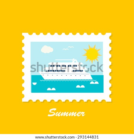 Summer stamp or mark with yacht and sea, vector - stock vector