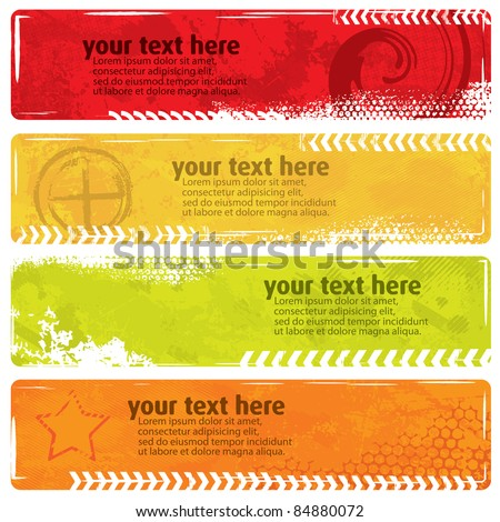 Summer Style Grunge Banners - stock vector