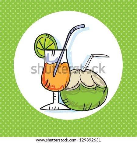Summer, Sun Icons ( coconut and  cocktail). Vector Illustration - stock vector
