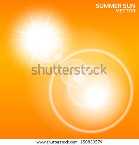 Summer sun lens flare background. Vector illustration. Orange sky. Eps10. - stock vector