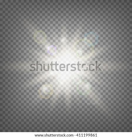 Summer sun light effect on transparent background. Summer sun template. Hot summer sun illustration. Stock vector. - stock vector