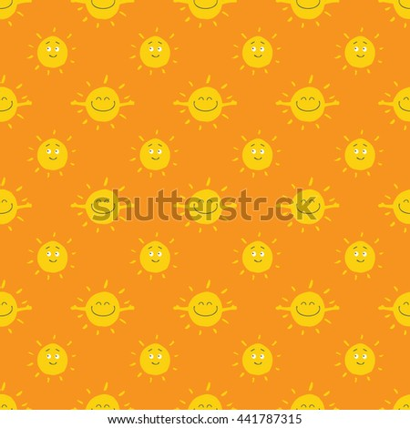 Summer Sun Seamless pattern on orange background. Bright, funny and happy vector illustrations with smile.