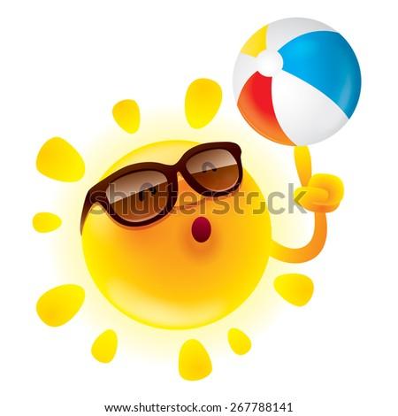 Summer sun with beach ball - stock vector