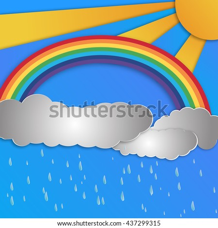 Summer sun with clouds ,rainbow background and rain. Paper cut style. - stock vector
