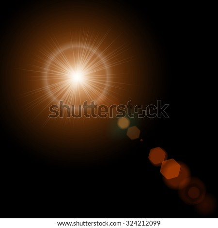 Summer sun with realistic lens flare lights and glow on black background. Vector illustration eps10 - stock vector