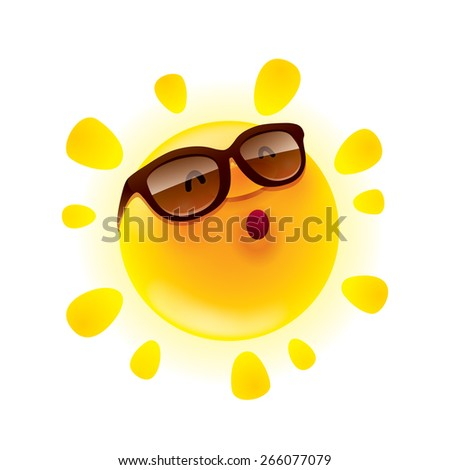 Summer sun with sunglasses - stock vector