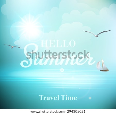 Summer sunny day with views of the sea with seagulls and a sailboat. EPS 10 - stock vector