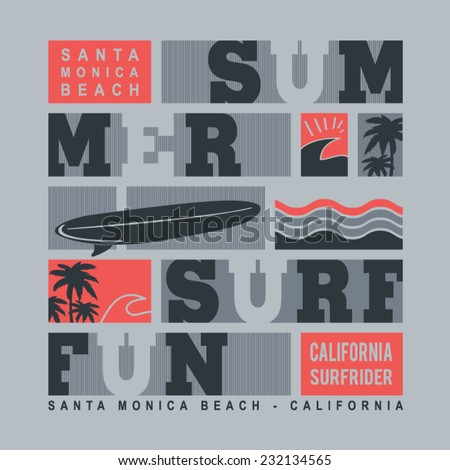 Summer surf typography, t-shirt graphics, vectors - stock vector