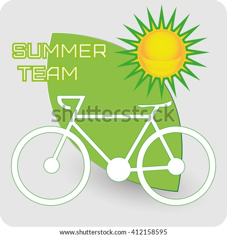 Summer team - sun and ecology. Green and yellow objects icon illustration. Riding a bike supporting ecology. Lovely greeting card for summer holidays. Digital vector image. - stock vector