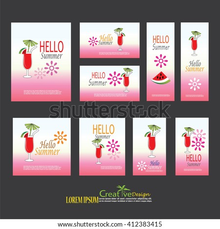 summer template.Vector set of   summer cards. Beautiful summer posters drinks.greeting cards, posters, advertisement.vector illustration.