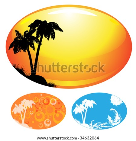 Summer templates with palm vector