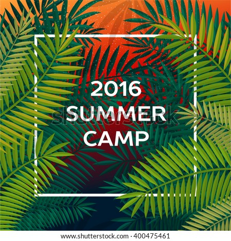 Summer themed camp and summer vacation poster, vector illustration. - stock vector
