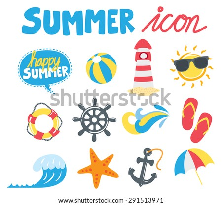 summer themed icons - stock vector