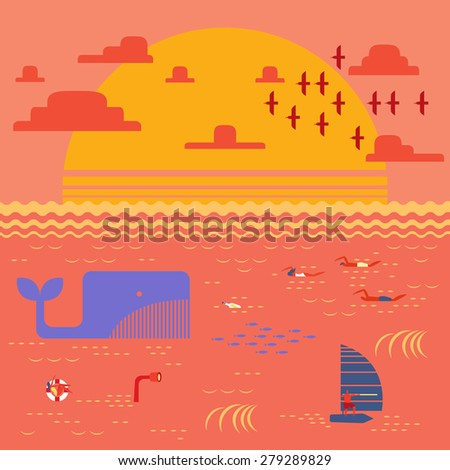 Summer time at sunset sea with people swimming,windsurfing and flock of bird going home in retro vintage map style - stock vector