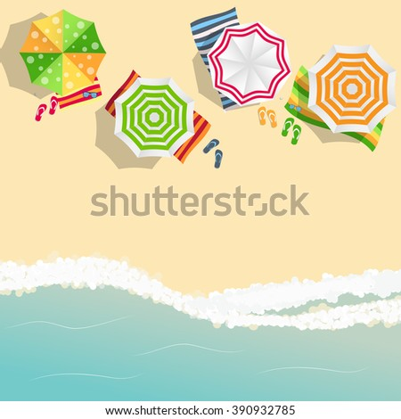 Summer Time Background. Sunny Beach in Flat Design Style Vector Illustration - stock vector