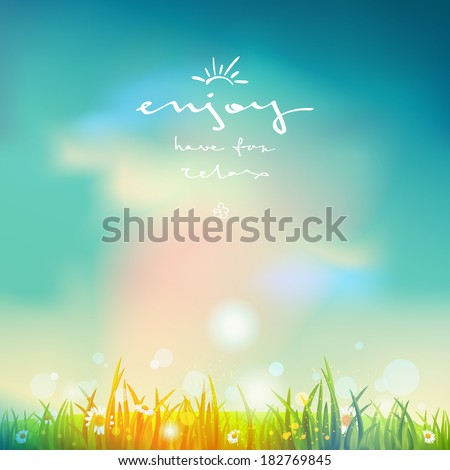 Summer time background with bright sunlight and blue sky - stock vector