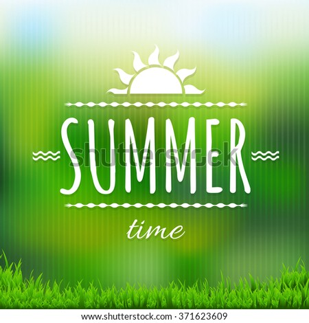 Summer Time Banner With Grass With Gradient Mesh, Vector Illustration - stock vector