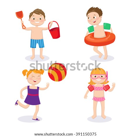 Summer Time. Beach Vacation. Happy Kids. Children in the Pool. Boy in Swimsuit. Girl in Swimsuit. Family Lifestyle. Vector illustration. Flat style - stock vector