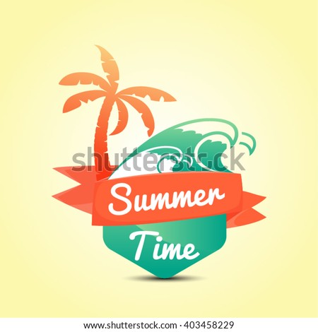 Summer Time  Calligraphic Design in Vintage Style. Vector illustration.