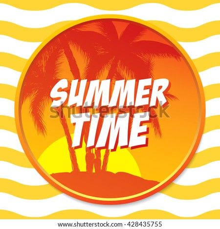 summer time circle sticker