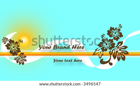 Summer Time Floral Background, Retro Colors, Vector, Fully Editable
