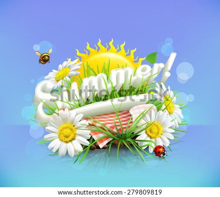Summer, time for a picnic, nature, outdoor recreation, a tablecloth and sun behind, grass, flowers of chamomile, vector illustration showing the summertime - stock vector