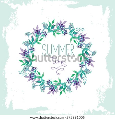 Summer time greeting card with watercolor floral elements - stock vector